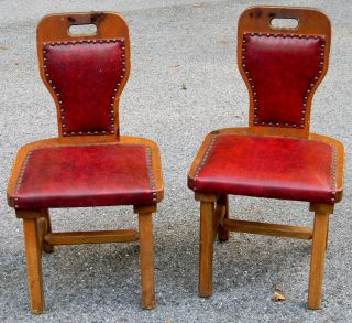 Vintage Pair Of Pub / Tavern Pine Wood Chairs Very Unique Design Look Awesome photo