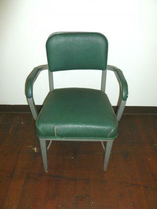 Vintage Steel Chair Industrial Machine Age Furniture Antique Mid Century Metal photo