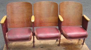 Set Of 3 Movie Theater Entertainment Auditorium Wood Seats Seating photo