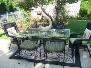Antique/vintage Wrought Iron Dining/garden/patio 5ft Long Glass Top Michigan photo