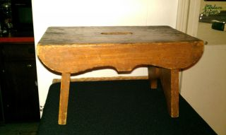 Antique Wooden Handmade Milking Stool,  Primitive,  Very Old & Charming :) photo