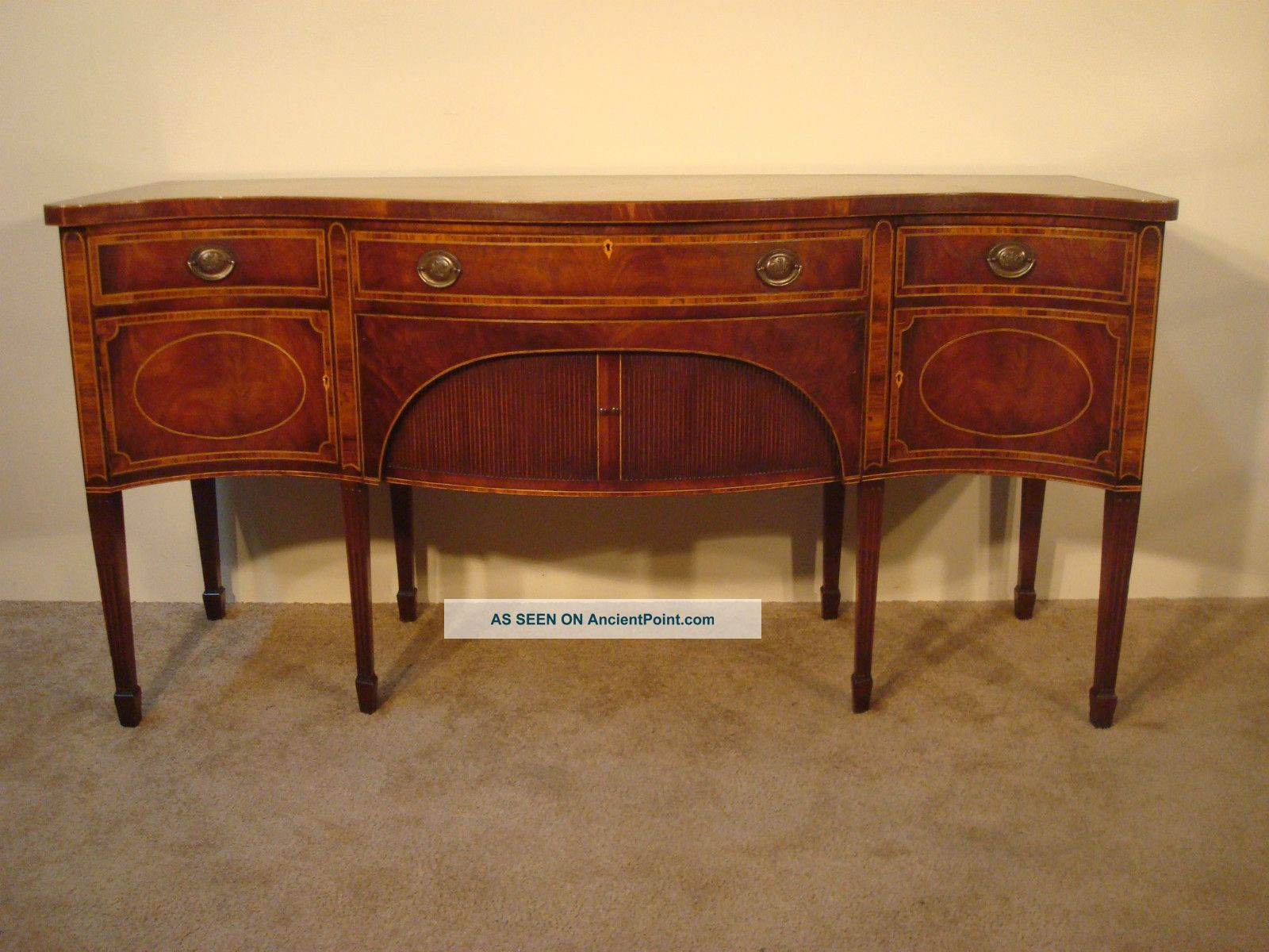 Antique Baker Furniture Company Inlaid Mahogany 8 - Leg Hepplewhite Sideboard Post-1950 photo
