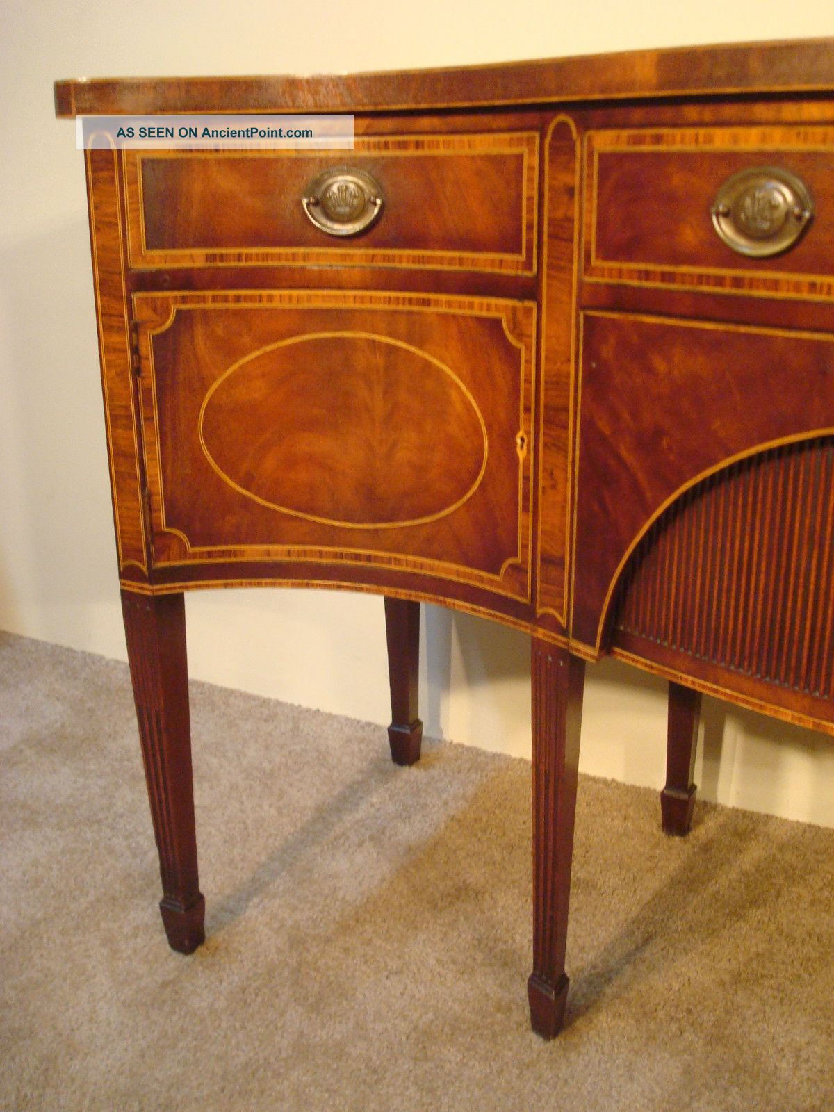 Antique Baker Furniture Company Inlaid Mahogany 8 - Leg Hepplewhite  Sideboard - Antique Baker Furniture Company Inlaid Mahogany 8 - Leg Hepplewhite