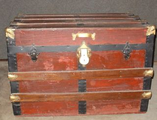 Antique - Wooden Trunk - Flat Top - Cloth Lining photo