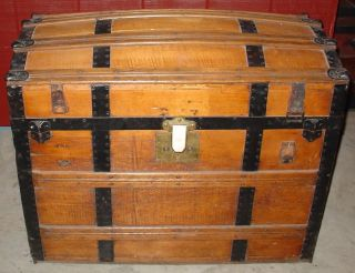 Antique - Wooden Trunk - Camel Back Top - Lining photo