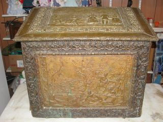 Antique 19th Century Copper Chest Fire Box French Influence Christmas photo