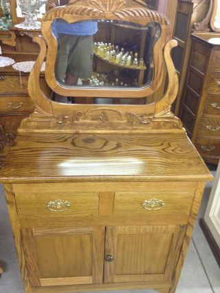 1950 ' S Solid Oak Vanity W/ Mirror Newly Restored Mint photo
