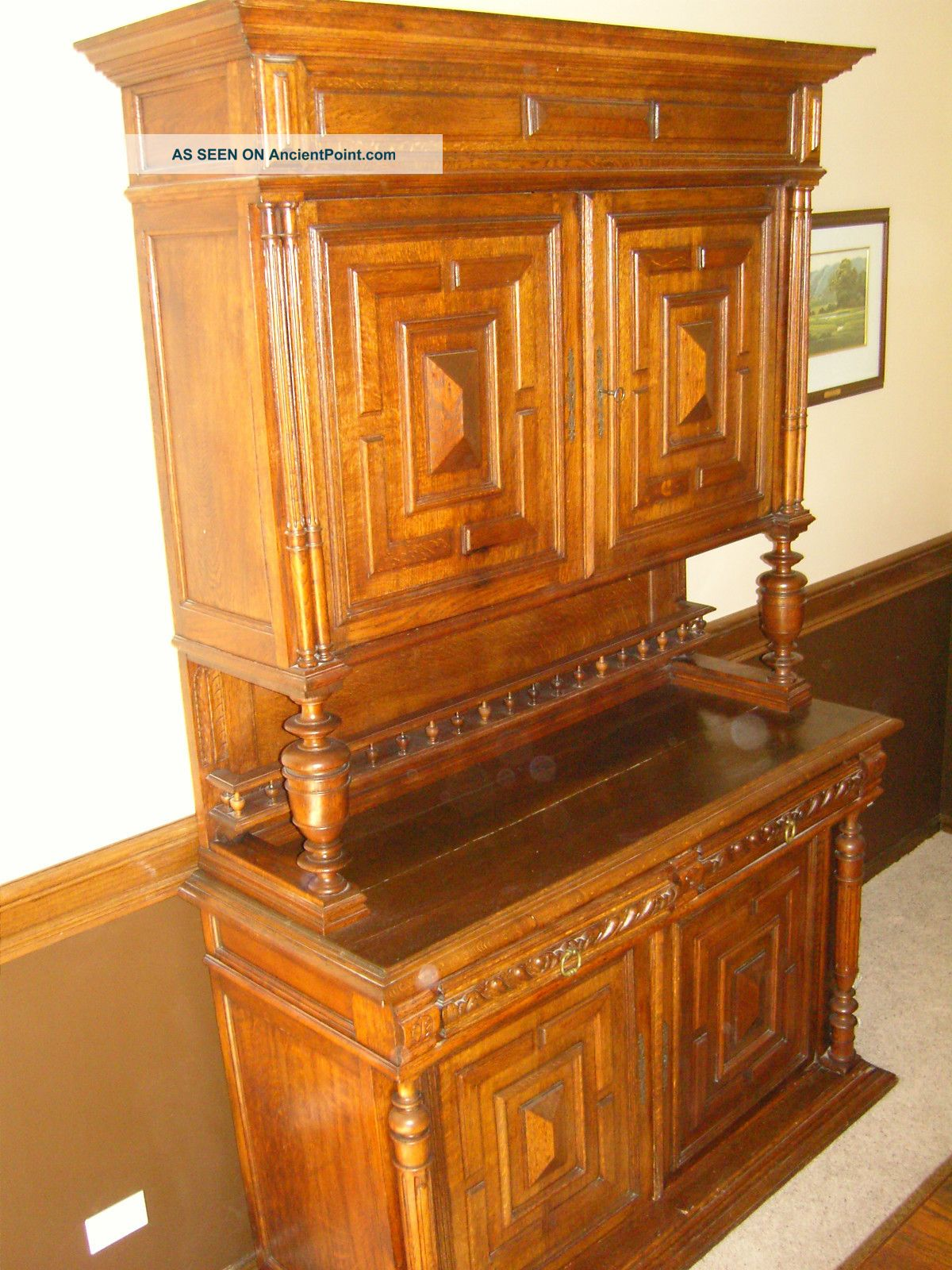 Antique Carved Solid Oak French Renaissance Butler ' S Sideboard Buffet Plate Rack 1800-1899 photo