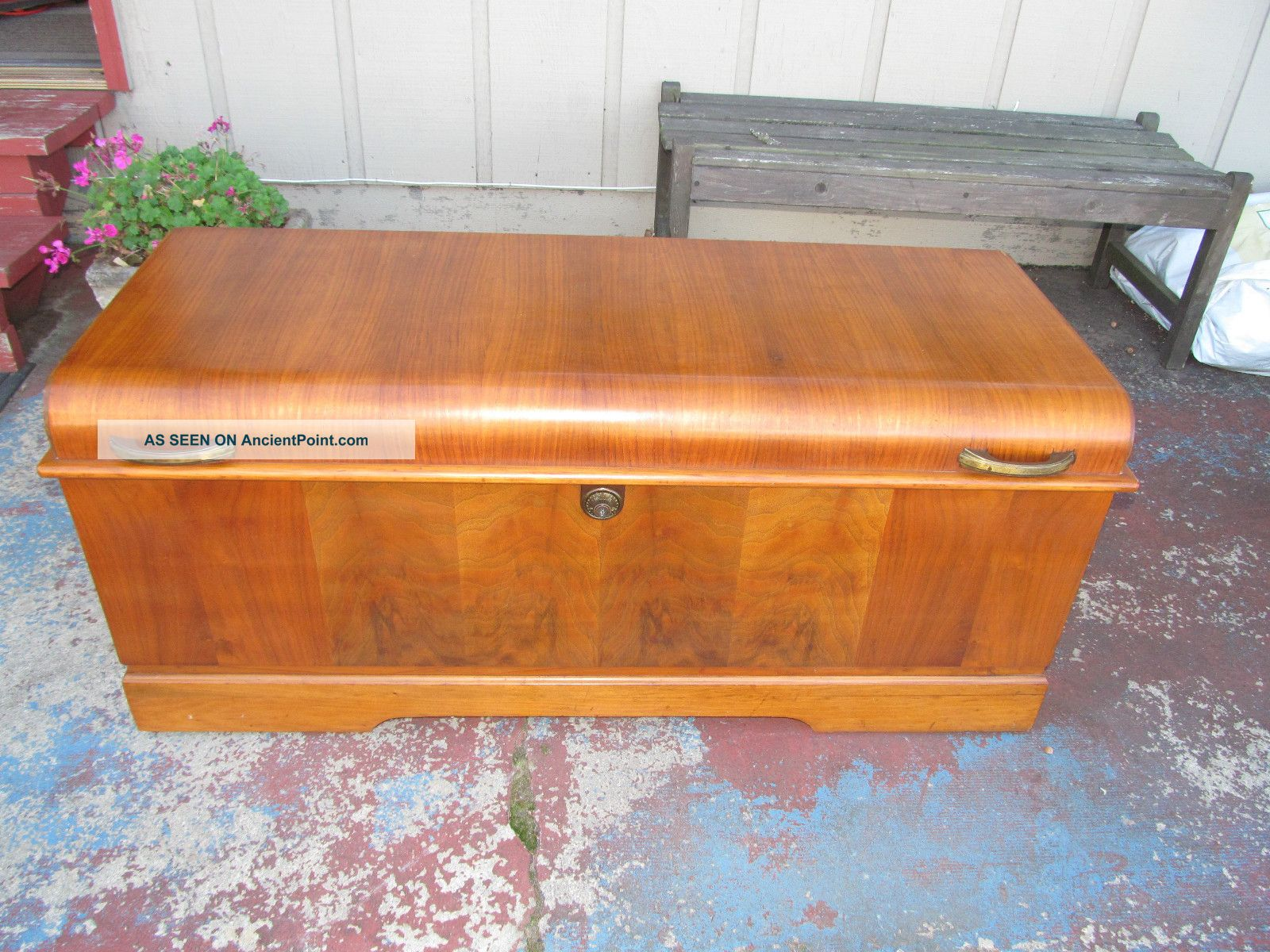 Vintage Waterfall Cavalier Cedar Chest Trunk W/ Key Pattern 491 Estate Find 1900-1950 photo