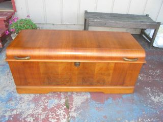 Vintage Waterfall Cavalier Cedar Chest Trunk W/ Key Pattern 491 Estate Find photo