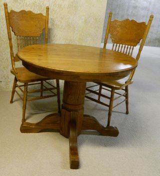 Small (36 Inch Diameter) Dining Table And 2 Chair Set,  Sturdy Wooden, photo