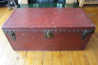 Antique Louis Vuitton Trunk Chest Early 20th Century Red Leather photo