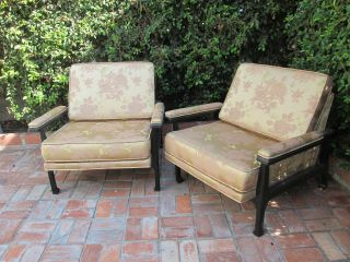 Pair Of Asian Lacquer Arm Chairs Post Modern Or Hollywood Regency photo