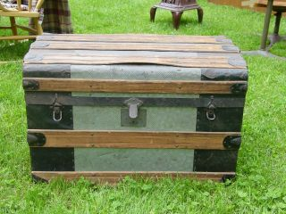 Antique Trunk Rounded Top,  Hidden Storage Inside,  Wood & Tin Outside photo