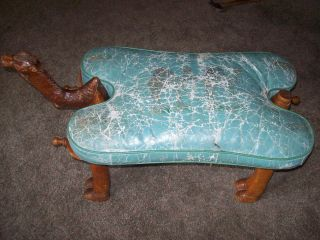 Antique Wood Carved Leather Camel Seat Saddle Ottoman Footstool Bench Chair Vtg photo