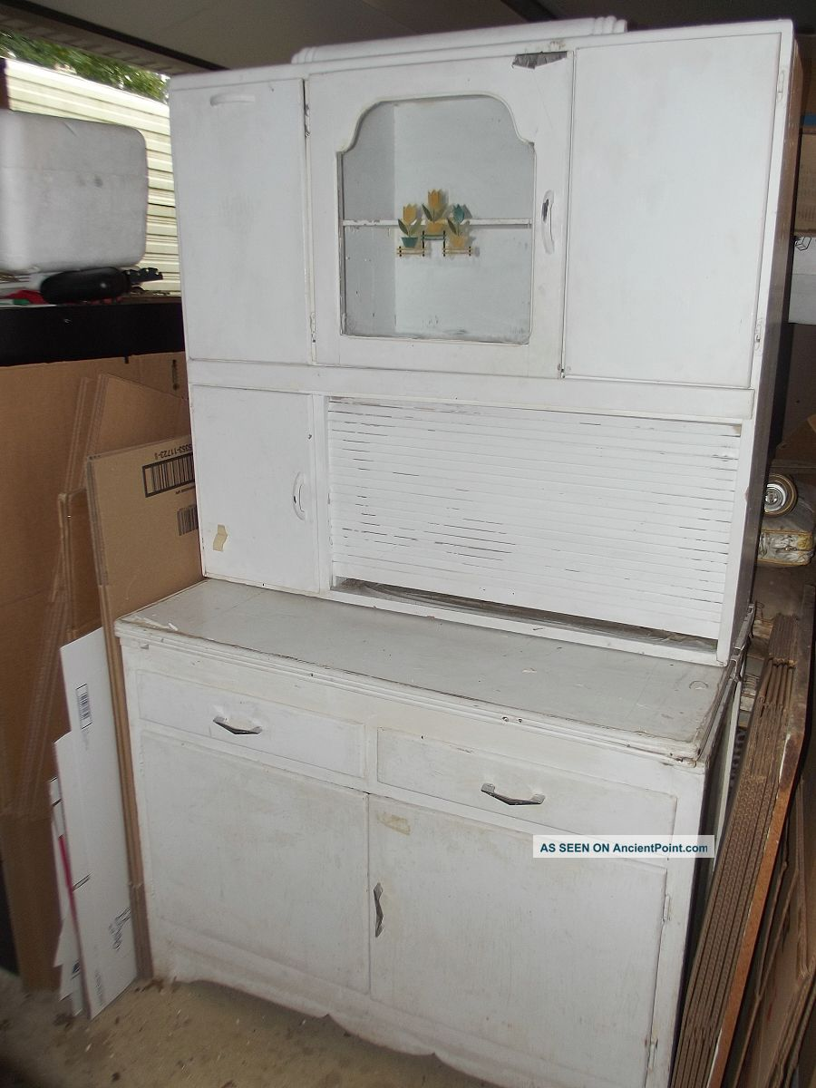 Vintage Marsh Hoosier Kitchen Cabinet With Flour Bin And Roll Top 1900-1950 photo