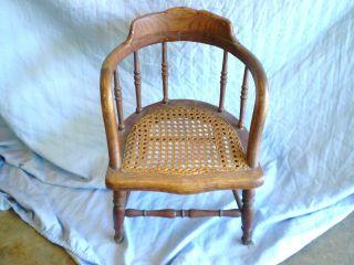 Antique Oak Childs Captain Chair Hand Cane Seat 19