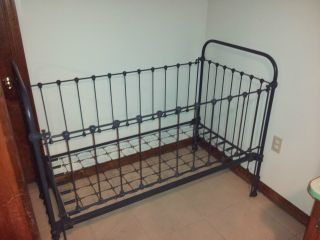 Completely Restored Iron Antique Baby Crib With Detail And Moveable Sides. photo