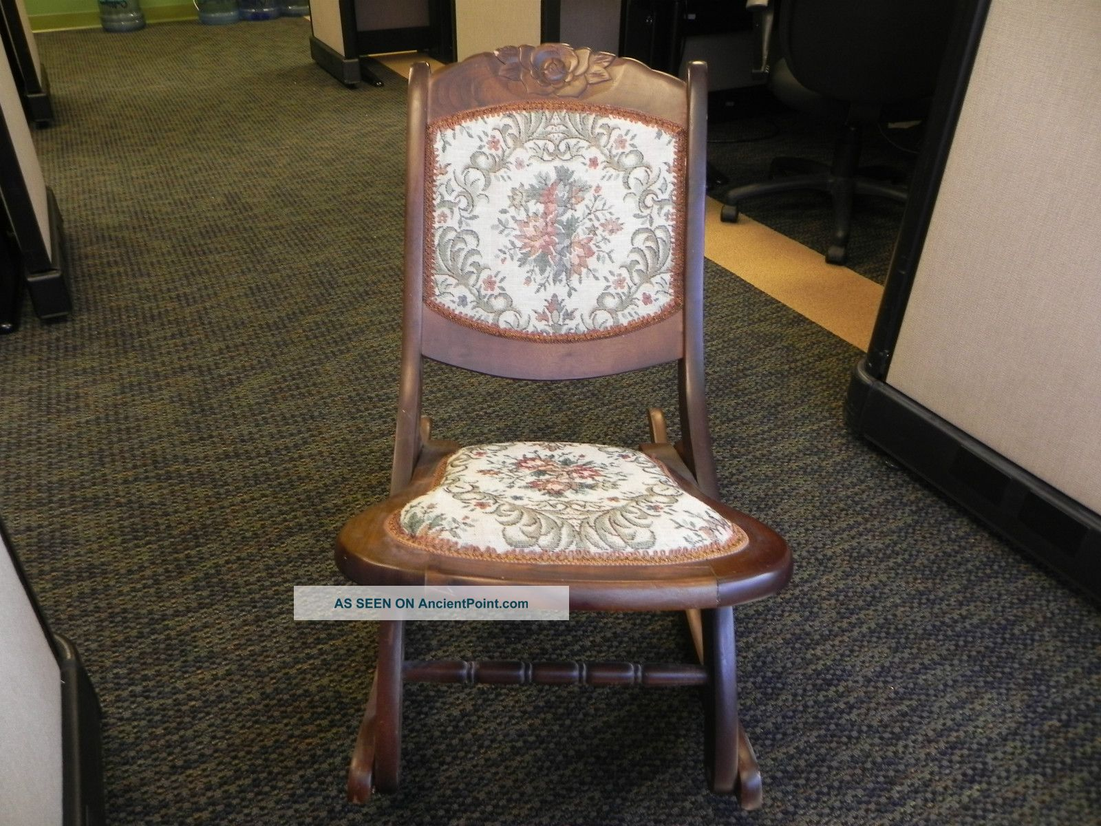 Antique Folding Rocking Chair With Tapestry