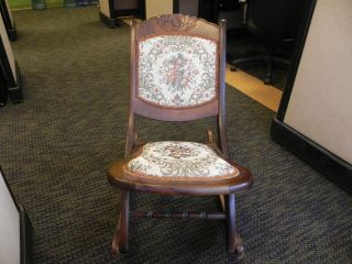 Vintage Folding Rocking Chair,  (sewing Style) With Floral Tapestry Upholstery photo