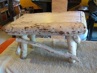Antique Adirandack Stool In Paint. photo