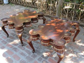 Pair Of Fancy Renaissance Revival End / Coffee Tables Rare Fantasy Style photo