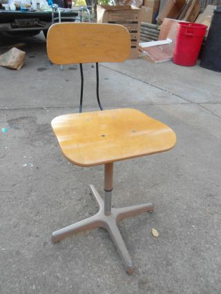 50s - 60s Ajustrite Industrial Drafting Steno Machinist Secretary Chair Stool photo