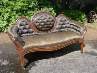 Time Capsule Find - Grape Carved Victorian Mirror Back Sofa C.  1870 photo