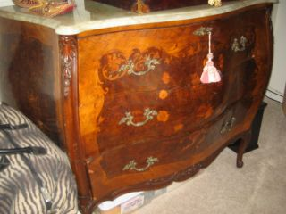 Antique French Provincial Inlaid Louis Xv 5 Piece Bedroom Set photo