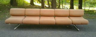 1970 ' S Modern 10 Ft.  Long 5 Seater Chrome Sofa Milo Baughman Era photo