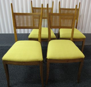 Four Mid Century Modern Wood & Cane Dining Chairs W/ New Deadstock Fabric Danish photo
