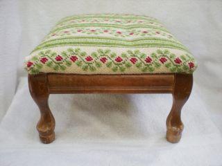 Vintage Handmade Flower Green Stripe Needlepoint 4 Wood Leg Stool photo