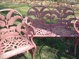 Antique Victorian Garden Set Fern Acorn Pattern Iron Bench Chair Table photo