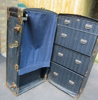 Antique 1930 ' S Breakless Steamer Wardrobe Trunk Vulcanized - Cool photo