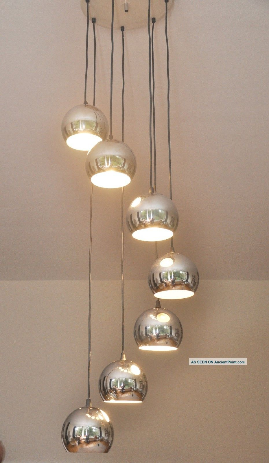 Spectacular Seven Tier Chrome Ball Vintage Chandelier 1970ies Germany 20th Century photo