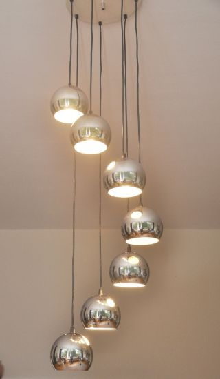 Spectacular Seven Tier Chrome Ball Vintage Chandelier 1970ies Germany photo
