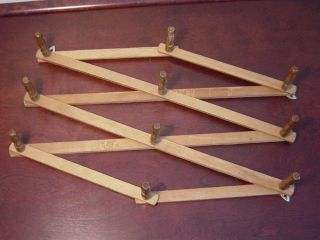 Vintage Wooden 10 Peg Primitive Farmhouse Accordian Rack Adjustable Mug Hat Herb photo