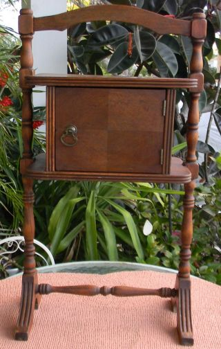 Antique Carved Mahogany Humidor Smoking Stand photo