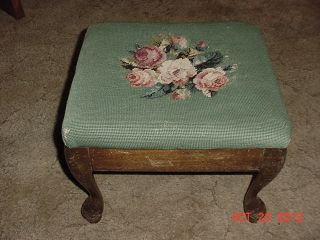 Antique Victorian Footstool Queen Ann Legs Needlepoint Upholstery Easy Restore photo