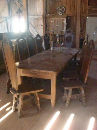 Antique Swiss Tavern Table And Chairs photo