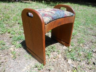 Neat And Unique Vintage Solid Oak Vanity Bench Stool Seat From Scotland Low S&h photo