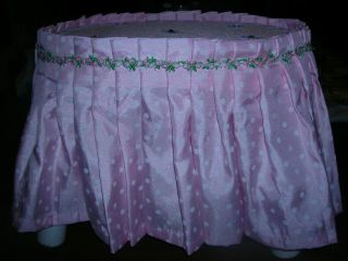 Antq Wooden Stool White Fabric Covered Embellished W/lace/sparkles 174 photo