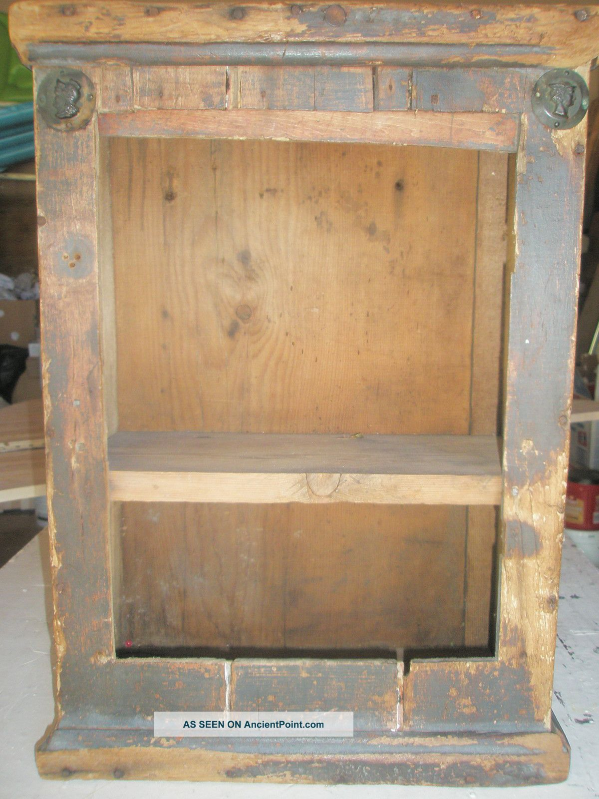 Amazing photo of Old Wood Shelf Cupboard Black Paint Cabinet Primitive Figural Metal  with #906C3C color and 1200x1600 pixels
