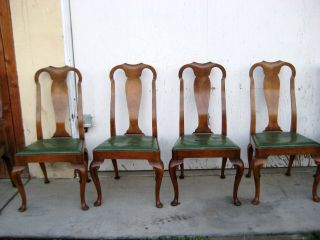 6 Pcs Queen Anne Dining Chairs By Baker Furniture Style 1645 photo