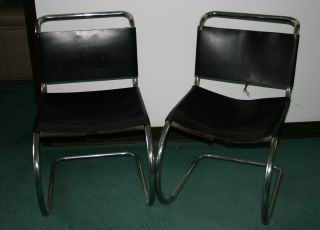 2 Knoll Mies Side Chairs With Laces photo