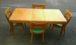 Mid - Century Modern Heywood Wakefield Dogbone Dining Chairs And Table photo