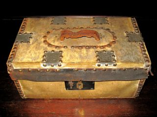 C1840 Hide Covered Trunk Boston Shelton Cheever Lock Chest Box Leather photo