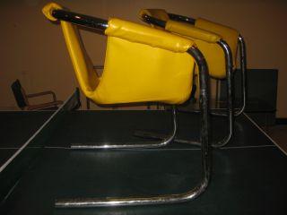 Mid Century Modern Milo Baugman Era Chrome Tube Sling Chairs 1970s photo