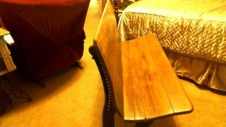 Antique Cast Iron/wood Double Seat School Bench photo