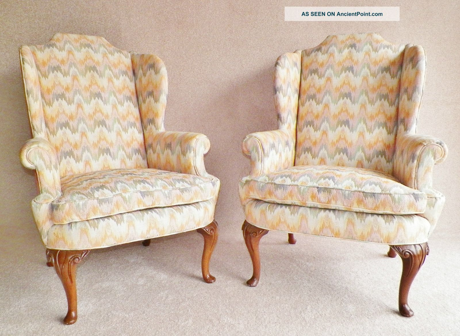 Henredon,  High End,  Wing Back Chairs,  Down Filled Cushions,  Velvet Back, Post-1950 photo